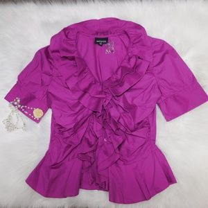 New Metrostyle Ruffle Fuchsia Blouse 10 PRETTY